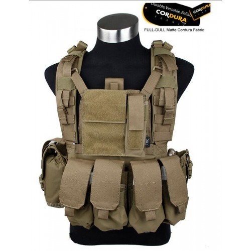 TMC RRV Style Modular Chest Rig with Pouch (Coyote Brown)